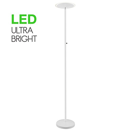 Kira Home Horizon 70  Modern Led Torchiere Floor Lamp  36W  300W Eq    Glass Diffuser  Dimmable  Timer And Wall Switch Compatible  Adjustable Head  3000K Warm White Light  White Finish