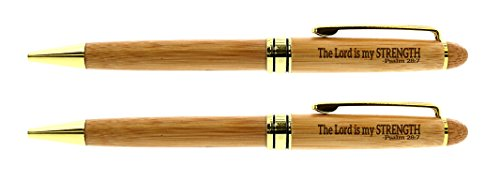 (Christian Pens The Lord is My Strength Psalm 28:7 Bible Verse Gifts Christian Religious Gifts Bible Verse Pens Psalms Gifts for Women Christian Gifts for Men 2-pack Laser Engraved Wooden Bamboo Pen)