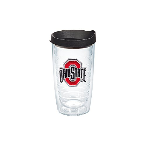 Tervis Ohio State University Emblem Individual Tumbler with Black Lid, 16 oz, (Ohio State Buckeyes Travel Mug)