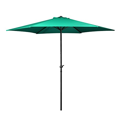 Flexzion Patio Umbrella 9 Feet - Portable Aluminum Outdoor Table Desk Umbrella Furniture with Hexagon Shape Polyester Cover 6 Steel Ribs Wind Vent for Market Beach Garden Backyard Pool (Green)