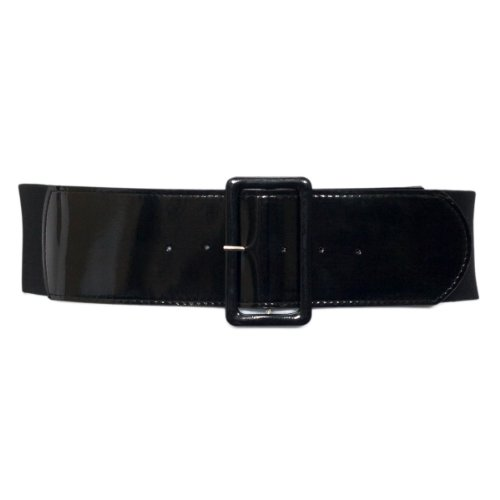 [eVogues Women's Wide Patent Leather Fashion Belt Black - One Size Junior] (Stretch Patent Buckle Belt)