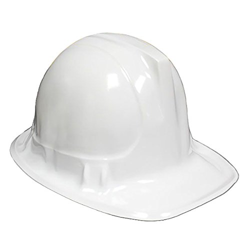 WHITE Kid's Plastic Miner Construction Hard Hats Set Of 12]()