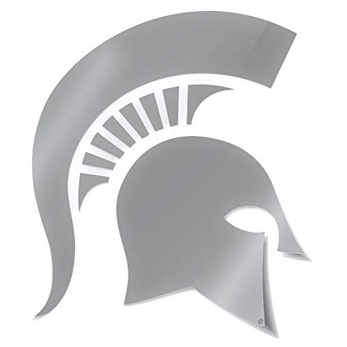 (Nudge Printing Classic Michigan State University Spartan Helmet Sparty Head MSU Car Decal Sticker (Silver))