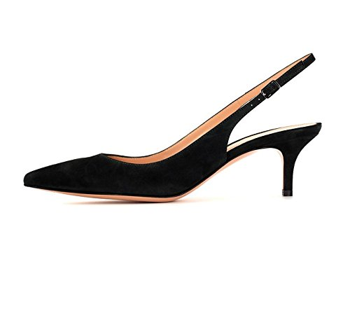 - Sammitop Women's Classic Slingback Kitten Heel Shoes Suede Black Pumps for Office Formal Dress Shoes US9