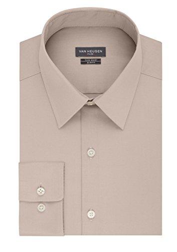 Van Heusen Mens Flex Collar Slim-Fit Solid Dress Shirt (Neck 16.5 Sleeve 34/35, Bisque) by Van Heusen