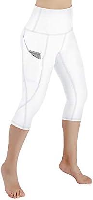 ODODOS High Waist Out Pocket Yoga Capris Pants Tummy Control Workout Running 4 Way Stretch Yoga Capris Leggings,White,XX-Large