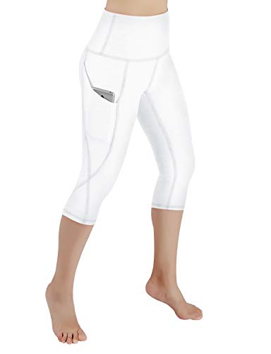 ODODOS High Waist Out Pocket Yoga Capris Pants Tummy Control Workout Running 4 Way Stretch Yoga Capris Leggings,White,Medium