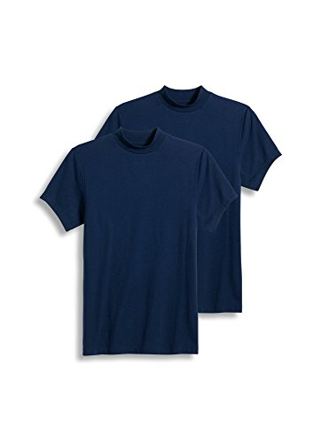 Jockey Men's Sportswear Short Sleeve Mock Neck Tee - 2 Pack, just Past Midnight, - Athletic Shirt Jockey