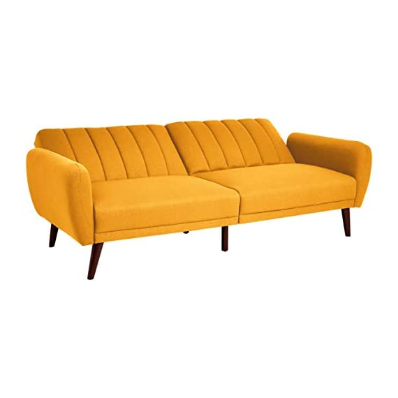 Sunrise Coast Torino Modern Linen-Upholstery Futon with Wooden Legs, Dijon - Futon couch transitions easily from a couch to a bed (back cushions fold down); offers contemporary style and space-saving versatility Comfortable polyester and foam filling; cushioned seat and back with ribbed tufted detailing; curved armrests Premium linen upholstery in a regal golden hue; wipes clean easily - sofas-couches, living-room-furniture, living-room - 311w Th1svL. SS570  -