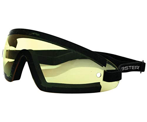 Bobster BW201Y Wrap Around Sunglasses, Black Frame/Yellow Lens (Sunglasses Womens Bobster Motorcycle)