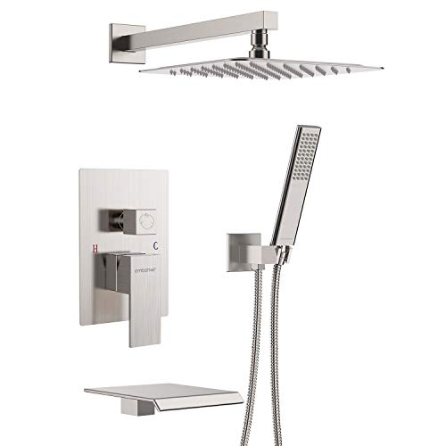 EMBATHER Shower System with Waterfall Tub Spout Shower Faucet Set with 12 Inches Rain Shower Head Wall Mounted Shower Set Brushed Nickle (Contain Rough-in Valve Body and Trim)