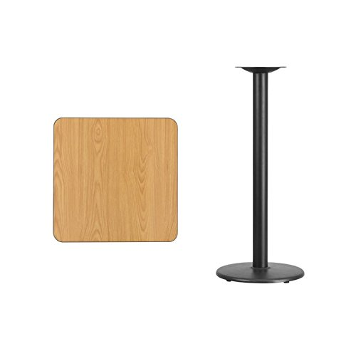 BOWERY HILL 24'' Square Restaurant Bar Table in Black and Natural