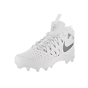 NIKE Men's Huarache V Lax White/Metalic Silver Cleated Shoe 11 Men US