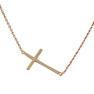 Amazon 925 sterling silver rose gold tone sideways cross amazon 925 sterling silver rose gold tone sideways cross pendant necklace chain necklaces jewelry aloadofball Choice Image