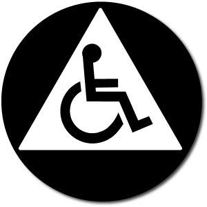 California All Gender Accessible Restroom Door Sign Black//White
