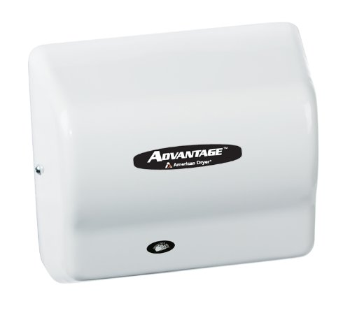 American Dryer AD90-MH Advantage Steel Standard Automatic Hair Dryer, White Epoxy Finish, 1/8 HP Motor, 100-240V, 5-5/8