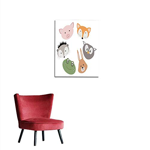 (longbuyer Wall Sticker Decals A Set of Cartoon Animals Illustration for Children Portraits of Animals Masks Collection of Stylized Animals Mural 16