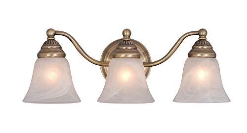 - Vaxcel VL35123A Standford 3 Light Vanity Light, Antique Brass Finish