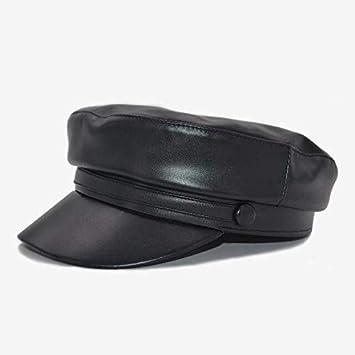 YOOLJUN Sombrero Gorra Militar De Cuero Mujer Moda Militar Ha ...