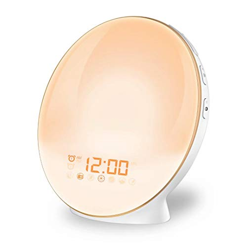 Wake Up Light Alarm Clock Lamp Alarm Clock Radio Sunrise Alarm Clock Fading Sunset with 7 Colors Sleep and Wake Up with PM Radio Light Alarm Clock Alarm Clock for Sleep Kids,Adults by Amerzam