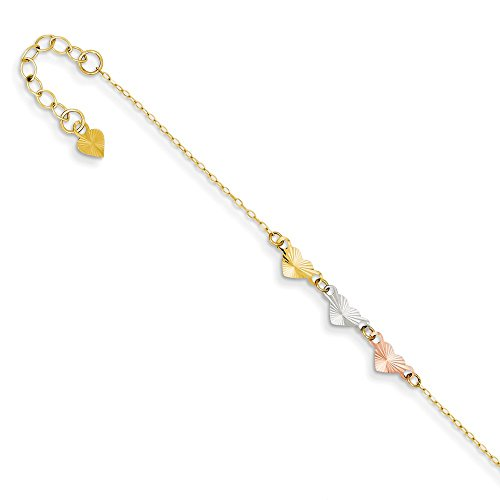14k Tri Color Yellow White Gold Adjustable Chain Plus Size Extender Heart Anklet Ankle Beach Bracelet Fine Jewelry Gifts For Women For Her