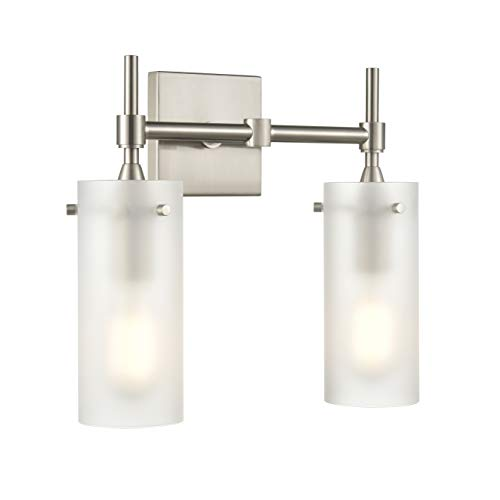 Effimero 2 Light Bathroom Vanity Light | Brushed Nickel Hallway Wall Sconce, Frosted Glass Shade LL-WL32-FRST-1BN