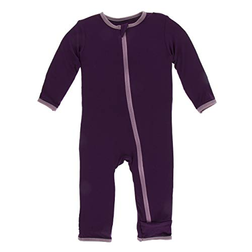 Kickee Pants Little Girls Solid Coverall with Zipper - Wine Grapes with Raisin, 3T (Girl Raisin Infant)