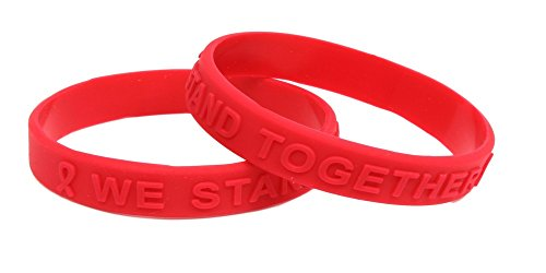 Red Ribbon Awareness Embossed Silicone Bracelet 25 (Red Awareness Ribbon Bracelet)