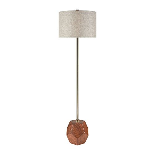 Dimond Lighting D3628 Hot Spot - One Light Floor Lamp, Mahogany Wood Tone/Antique Gold Finish with Grey Linen Shade (Antique Tone Finish)