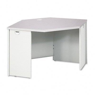 - HON Corner Desk, 24 by 42 by 42 by 24 by 29-1/2-Inch, Medium Oak/Putty