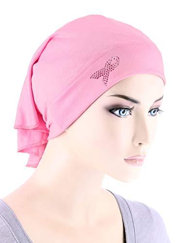 Breast Cancer Awareness Soft Bandana Head Wrap Hat with Pink Ribbon Rhinestud Pink