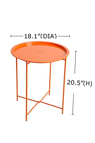 Finnhomy small round tray side table end table with for Orange outdoor side table