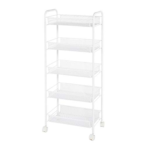 Qinlorgo Storage Trolley Removable 5 Tiers Metal Rolling Wheel Storage Rack Instrument Tray Trolley Beauty Tools for Bathroom, Kitchen, Crafts, Home Office or Laundry Rooms