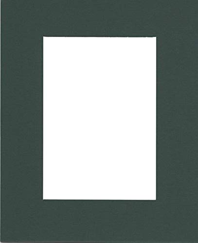 (Pack of (5) 11x14 Acid Free White Core Picture Mats Cut for 8x10 Pictures in Pine Green)