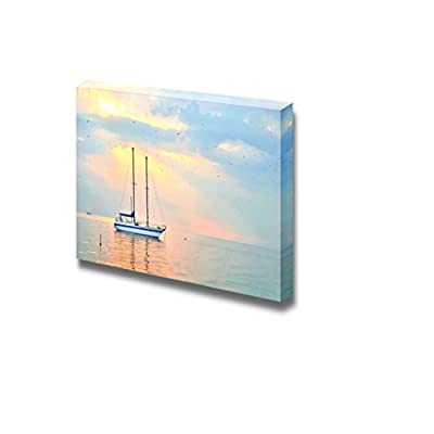 Canvas Prints Wall Art - Beautiful Seascape with Yacht at Sunset | Modern Wall Decor/Home Decoration Stretched Gallery Canvas Wrap Giclee Print & Ready to Hang - 16