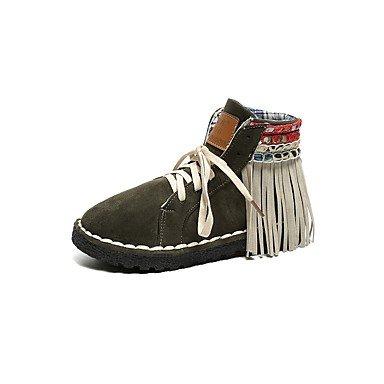 ZHENG Women Shoes PU Fall Winter Snow Flat Heel Round Toe for Casual Army Green Gray BlackArmy GreenUS6.5-7 EU37 UK4.5-5 CN37