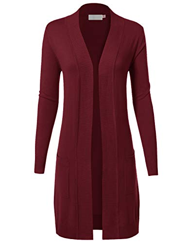 (MAYSIX APPAREL Womens Long Sleeve Long Line Knit Sweater Open Front Cardigan W/pocket BURGUNDY)