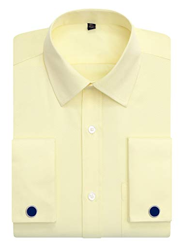 J.VER Men's Dress Shirts Regular Fit French Cuff Spead Collar Long Sleeve Metal Cufflink - Color:Yellow, Size:17.5