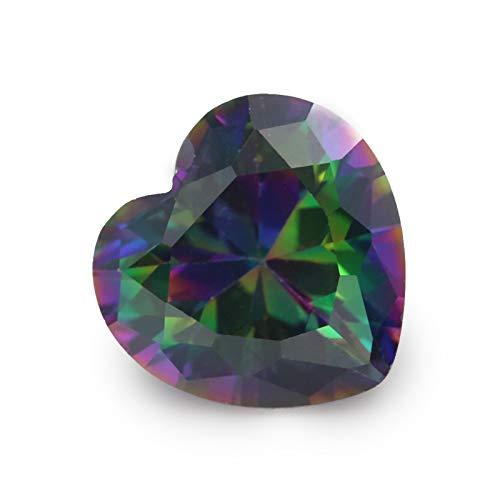 Calvas Size 3x3mm~10x10mm Plating Mix Color Multicolor Cubic Zirconia Heart Cut Loose CZ Stone Synthetic Gems - (Item Diameter: 10x10mm (100pcs))