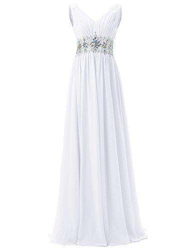 Dresstells®Gala De Fiesta Vestido De Boda Largo Elegante De Gasa Blanco