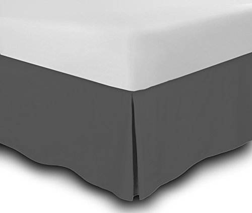 Bed Skirt Long Staple Fiber - Durable, Comfortable & Abrasion Resistant, Quadruple Pleated, 100% Finest Quality by Lux Decor Collection (King ,Grey )