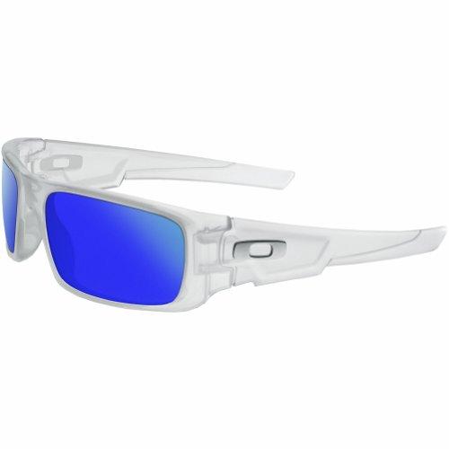 Oakley Men's OO9239 Crankshaft Rectangular Sunglasses, Matte Clear/Violet Iridium Polarized, 60 mm