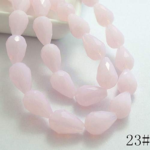 Calvas Wholesale 20pcs Faceted Teardrop Glass Crystal Loose Spacer Beads 8x12mm HOT - (Color: Pink)