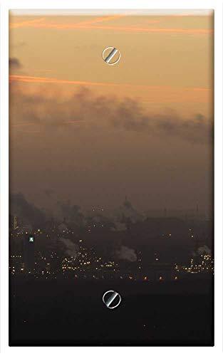 Blast Furnace Steel - Single-Gang Blank Wall Plate Cover - Pollution Industrial Plant Steel Mill Blast Furnace
