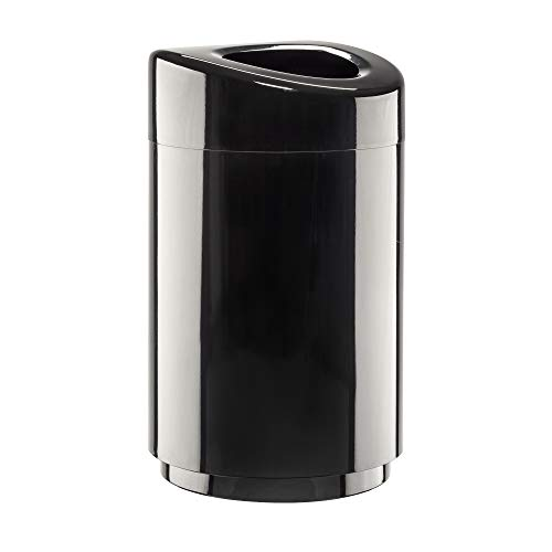 Safco Products Open Top Trash Receptacle with Liner 9920BL, Black, 30 Gallon Capacity, Hands-free Disposal, Modern Styling - Open Top Receptacle Finish