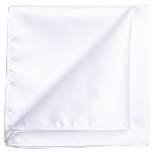 (KissTies White Pocket Square Mens Satin Handkerchief + Gift Box)