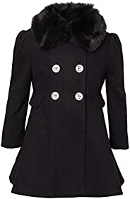 Cremson Girls' Wool Blend Hooded Ruffle Winter Dress Pea Coat Ja