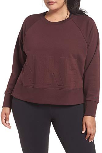 Nike Women's Plus Size Versa Dri-FIT Crew Pullover (Burgundy Crush/Black, 2X) (Pullover Terry Nike)