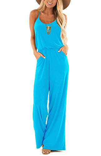 Womens Casual Loose V Neck Sleeveless Spaghetti Strap Wide Leg Pants Jumpsuit Rompers Blue Acid X-Large