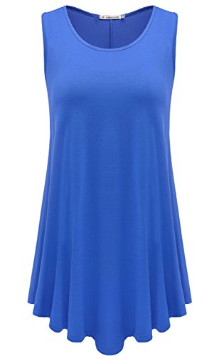 JollieLovin Womens Sleeveless Comfy Plus Size Tunic Tank Top with Flare Hem